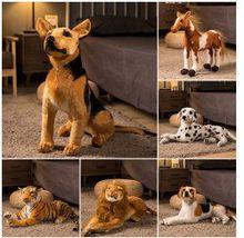 O envio gratuito de 2019 popular boa qualidade leão tigre cão pelúcia boneca simulação animais brinquedos 30cm-60cm à venda