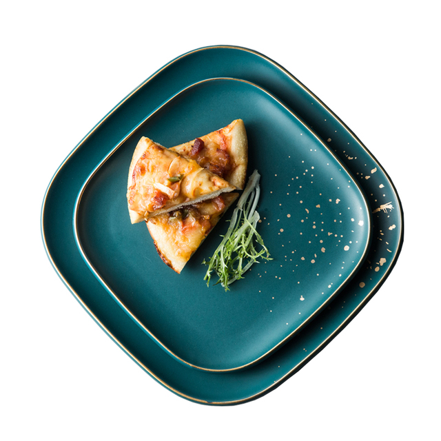 High Fashion Retro Green dinner plates set Nordic Ceramic Tableware Set Dinnerware Set Bowl Plate Soup Bowl Set Modern Style 4