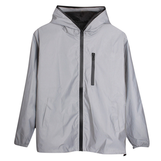 Long Sleeved Reflective jacket men women harajuku windbreaker jackets hooded hip-hop streetwear night shiny zipper coats g3