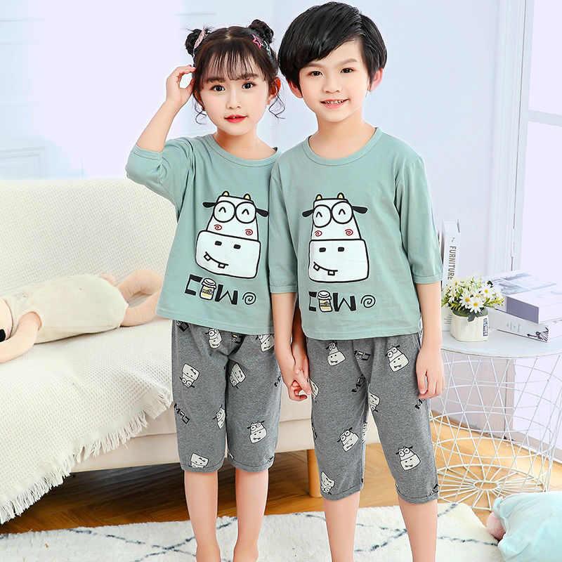 ฤดูร้อนเด็กชุดนอนการ์ตูนชุดนอนเด็กหญิงสั้นแขนเสื้อยืด + กางเกงชุดนอนชุดเด็กทารกชุดนอนเด็ก