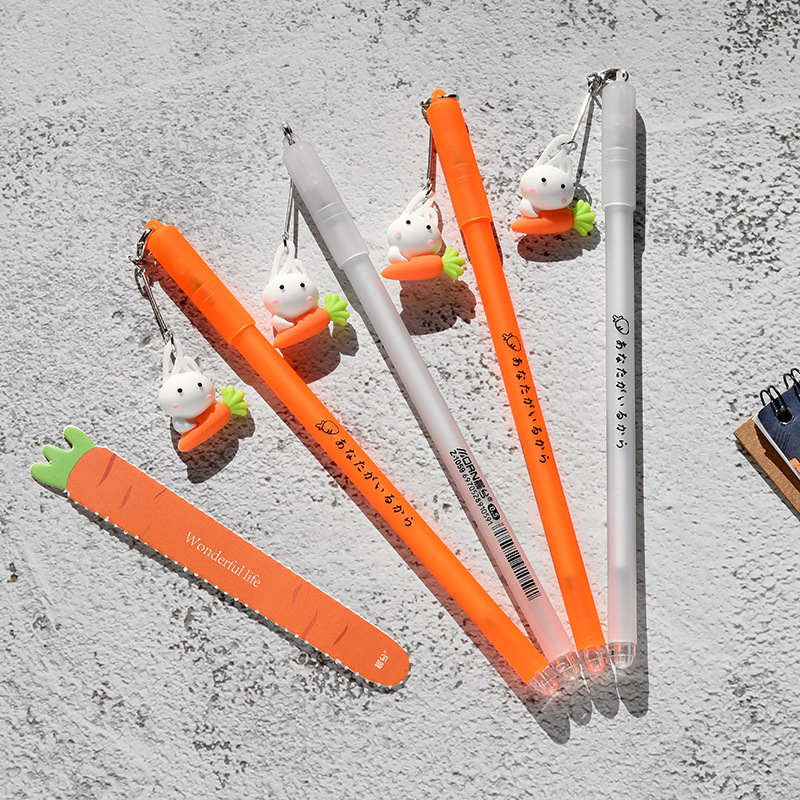 36pcs/set Kawai Stationery for Kids Cartoon School Supplies Gel Carrot Pen Office Rabbit Radish Creative Girlfriend Gift