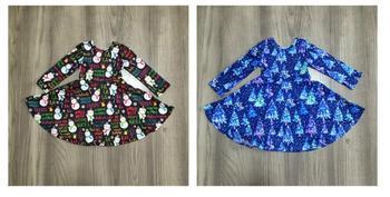 Girlymax Christmas fall/winter baby girls cotton chlidren clothes milk silk twirl dress knee length snowman navy tie dye tree 1