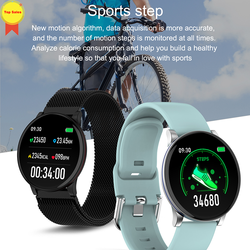 new product 2019 Smart Watch round screen heart rate Smartwatch blood pressure monitor sports Tracker Smart Band for ios android|Smart Wristbands|   - title=