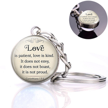 Love Is Patient Bible Verse Quote Keychain Corinthians 13:14 Glass Ball Pendant Keyring Scripture Jewelry Christian Gifts the lord is near all who call ont to him bible verse psalm quote key chain glass jewelry christian pendant keyring keychain gift