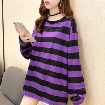 harajuku Women Striped Oversize Tshirt Chic Fashion 90s full Sleeve Loose T-shirts Female Casual Tops Clothes Streetwear T shirt