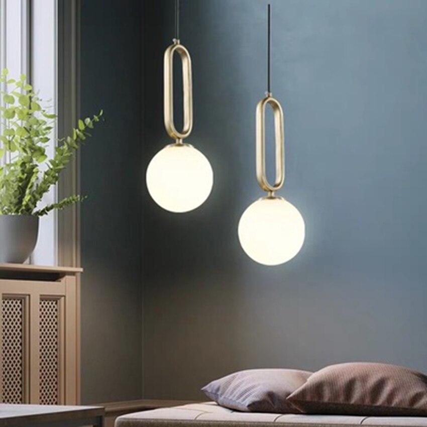 Postmodern LED Pendant Lights Glass Ball Pendant Lamp Lighting Nordic Cafe Loft Living Room Lamp Bedroom Decor Light Fixtures