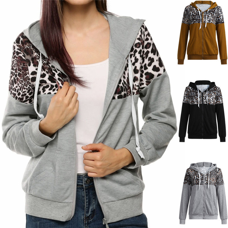 Women Running Jacket Hooded Yoga Jacket Zipper Leopard Print Jacket Fitness Clothing Top Sport Gym Sportswear Women's Clothing