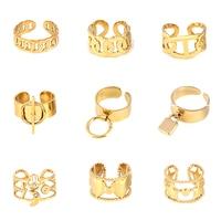 Anillo de acero inoxidable de Color dorado ancho para mujer, anillos circulares, anillo de cadena Punk redondo geométrico, anillos abiertos para dedos, joyería