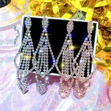 korean style geometric rhinestone drop earrings long  rectangle dangle earrings for women party jewelry gift цена и фото
