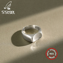 S'STEEL Simple Smooth Ring 925 Sterling Silver Rings For Women Gift For Girlfriend Joyas De Plata 925 Mujer Minimalist Jewelry