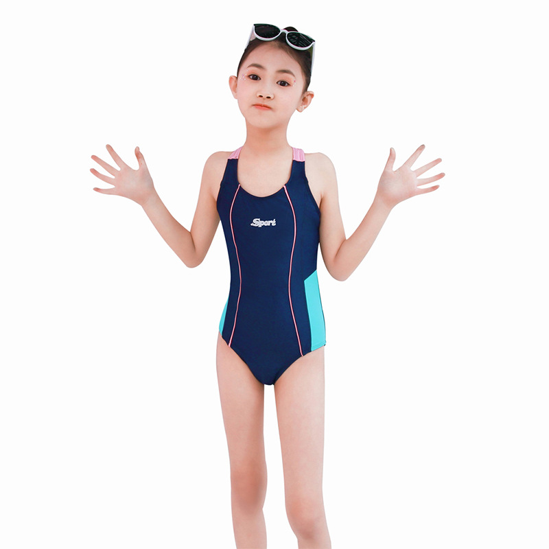 2019 New Style Solid Color Swimwear One-piece Triangular Panels Pressure Bud Profession Athletic Training Middle And Large CHILD