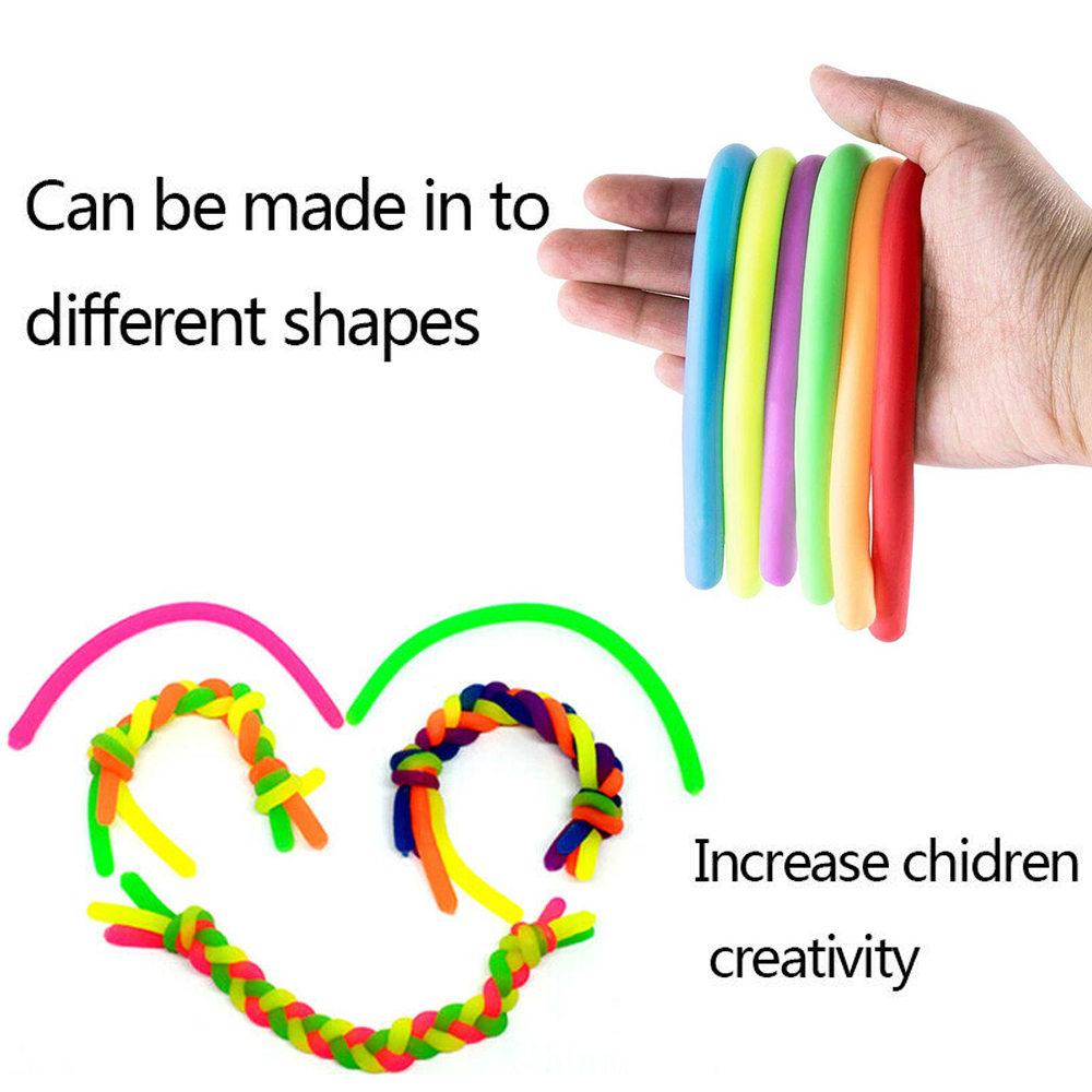 6Pcs Stretchy Noodle String Neon Kids Childrens Fidget Stress Relief Sensory Toy Decompression Elastic Rope Anti-Anxiety Toys img4
