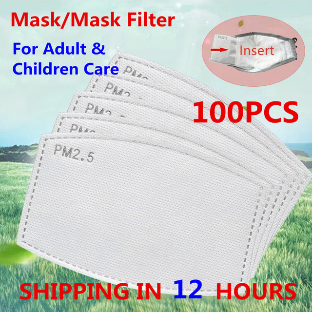 100pcs 50pcs PM 2.5 Mask Filter Cotton Mouth Mask Anti Haze Dust 5 Ply Mask Activated Carbon Filter Replaceable For Adults Child
