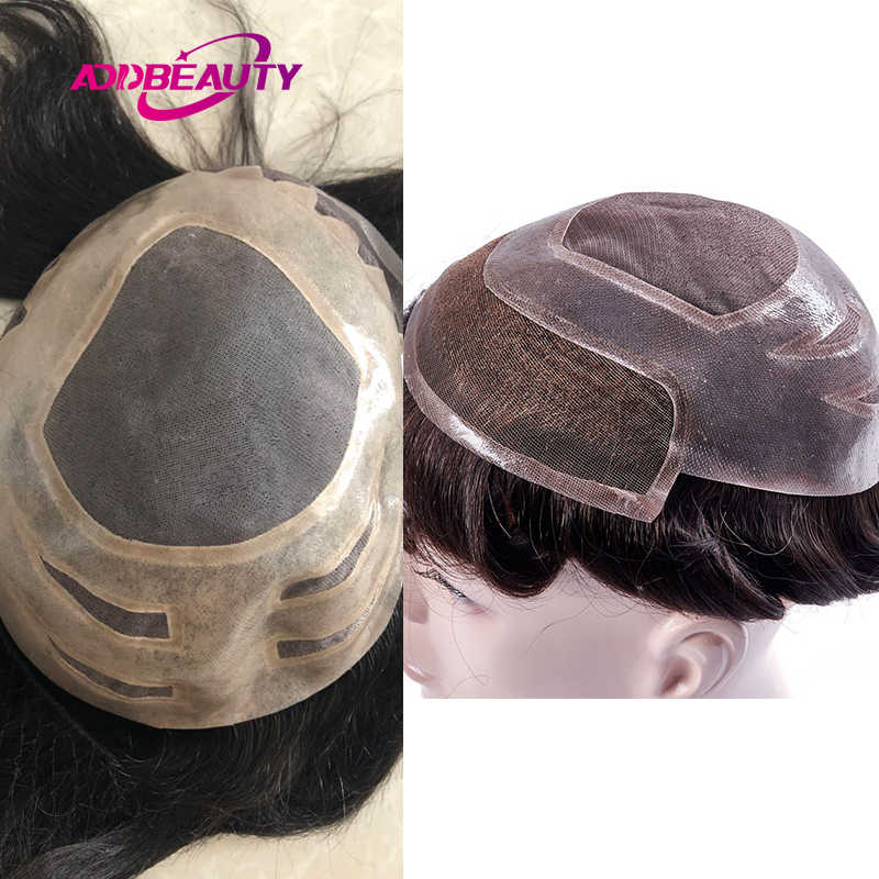 AddBeauty, Mono de encaje marrón oscuro con sistemas de repuesto de cabello de tupé para hombres, peluca de cabello humano Remy indio Natural