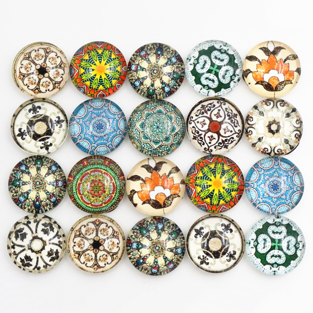50pcs/Lot 12mm Photo Glass Cabochons Mixed Color Cabochons For Bracelet Earrings Necklace Bases Settings-C4-55