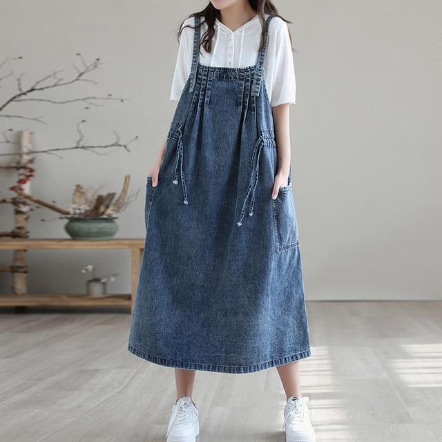 NINI WONDERLAND 2021 Summer Cotton Denim Midi Dress Women's Spaghetti Strap Loose Dress Korean Style Casual Dresses Big Size 1
