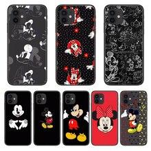 Mickey estilo capa de telefone para o iphone 12 pro max 11 8 7 6 s xr plus x xs se 2020 mini escudo de célula preta