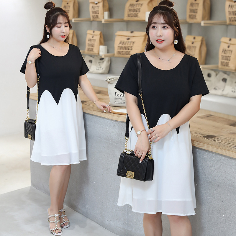 [Xuan Chen] Large GIRL'S Minimalist Black And White Dress Summer New Style Plus-sized Skirt On Behalf Of A218
