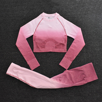 ShirtsPantsRed - Women's Sportwear Seamless Fitness Gradient Yoga Set