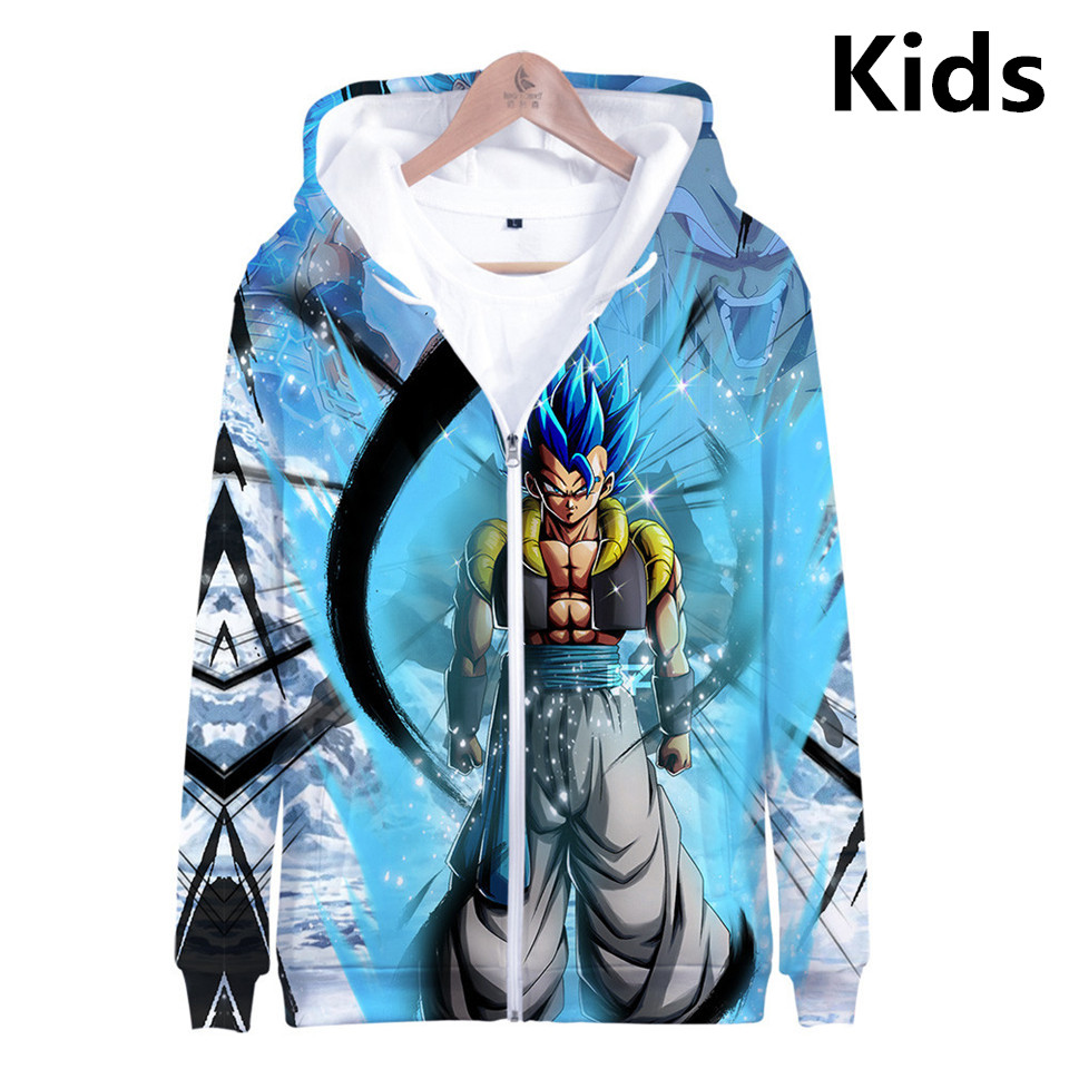 3 To 13 Years Kids Hoodies Dragon Ball Z Son Goku 3D Printed Hoodie Sweatshirt Boys Girls Long Sleeve Jacket Children Clothes