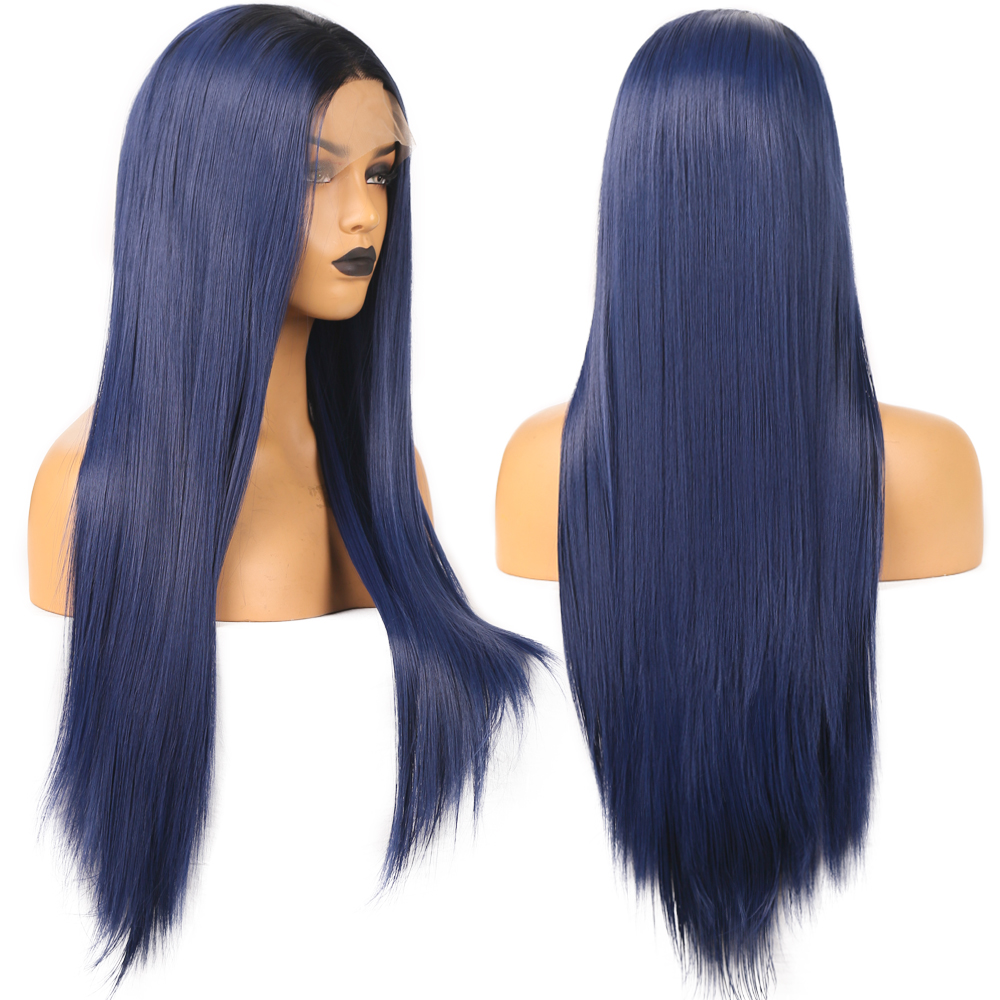 Fanxiton peruca reta ombre azul peruca dianteira