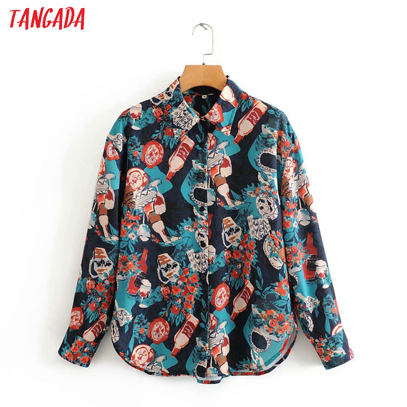 Tangada Women Chic Loose Vintage Chiffon Blouse Long Sleeve Female Casual Print Shirts Stylish Tops Blusas 2J05