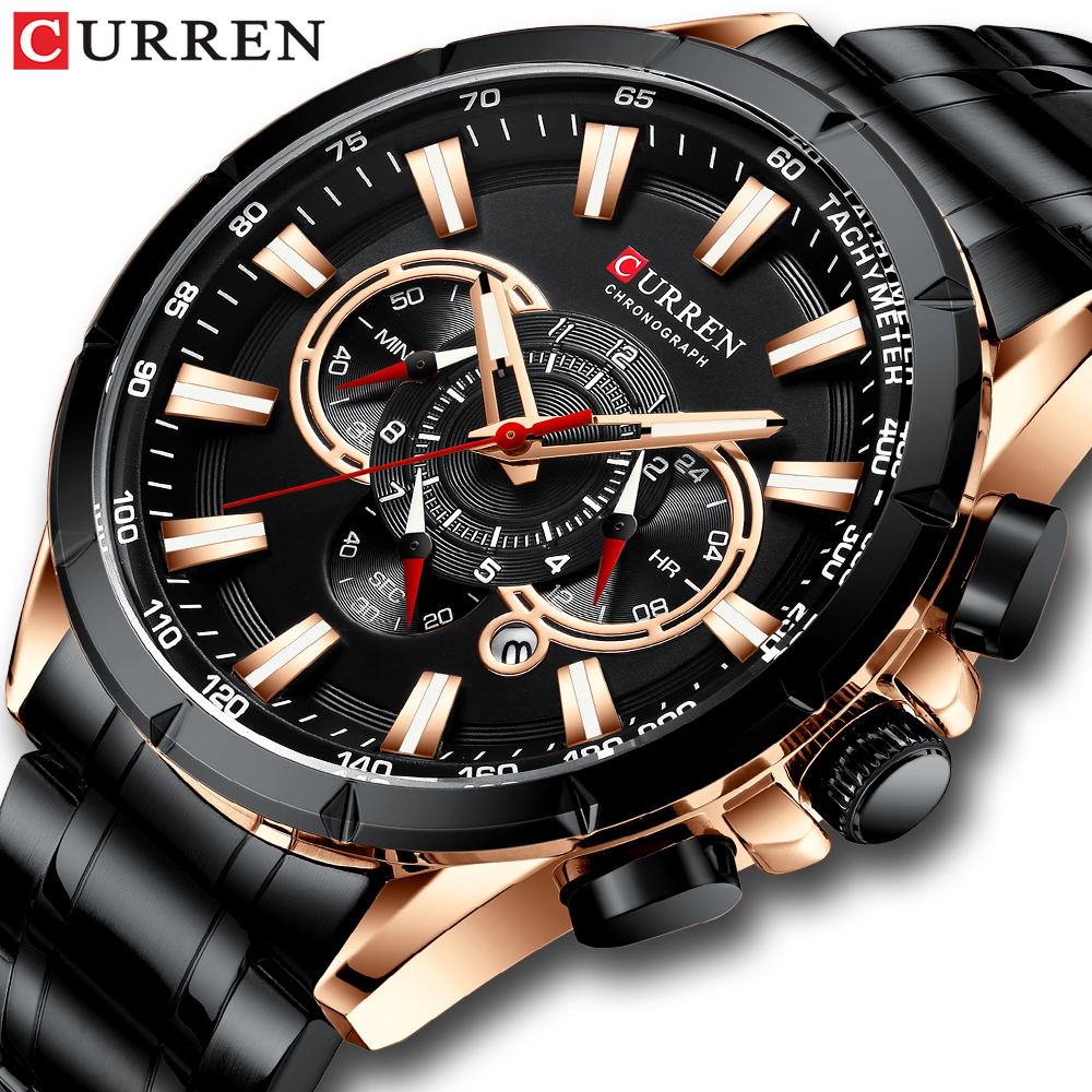 Man Watch CURREN Mannen Horloge Mode Sport Chronograph  Topmerk Luxe Quartz Horloge Roestvrij Stalen Band Men's Quartz Watch
