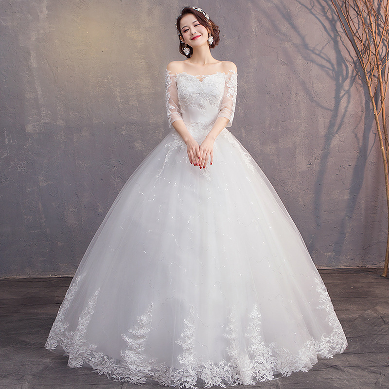 Elegant Lace Wedding Dresses Ball Gown Off Shoulder V-Neck Appliques 3/4 Sleeve Beaded Tulle Bride Wedding Gowns Suknia Slubna