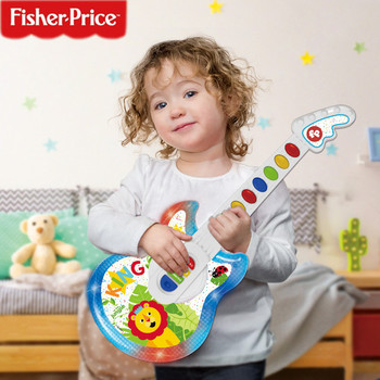 FISHER-PRICE Children Multi-functional Early Childhood Educational Music Electric Guitar Bass Toy with Light Musical Instruments ou fs8 multifunction early childhood educational music robot toy w interaction led white pink