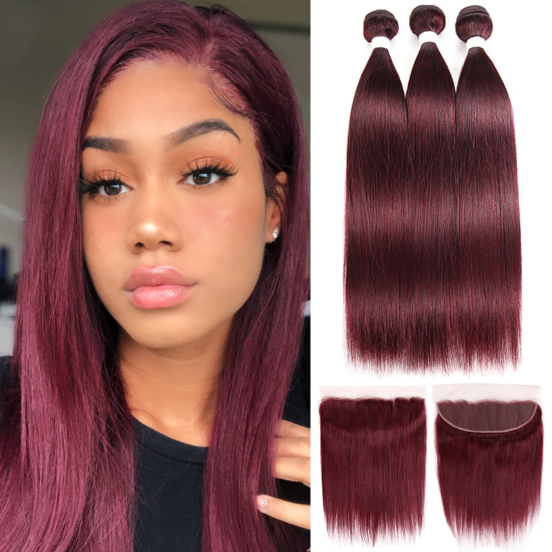 Brazilian Remy 13x4 Lace Frontal With Human Hair Weave Bundles EUPHORIA 99J Burgundy Red Color Straight Weft Bundle With Closure