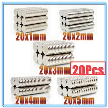 20Pcs N35 Round Magnet 20x1 20x2 20x3 20x4 20x5 mm Neodymium Permanent NdFeB Super Strong Powerful Magnets 20*2 20*3 20*5