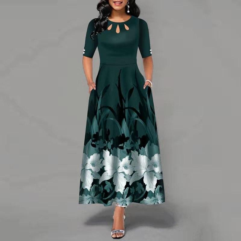Женское офисное платье в африканском стиле, летнее платье с цветочным принтом, элегантное женское длинное платье, Африканская женщина|Африканская одежда|   | АлиЭкспресс