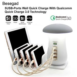 Image 5 - Besegad Multi Port USB Charger USB Charging Station Dock QC 3.0 Quick Mushroom Night Lamp Charger for Mobile Phone and Tablet