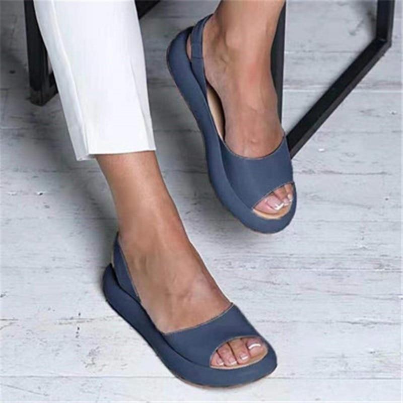 Women Flat Summer Sandals Woman Peep Toe Female PU Fashion Summer Shoes 2020 NEW Comfortable Plus Size Shoes Women
