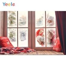 Yeele Christmas Backdrop Santa Claus Window Gift Winter Snow Photography Background Photo Studio Photobooth Shoot Photophone