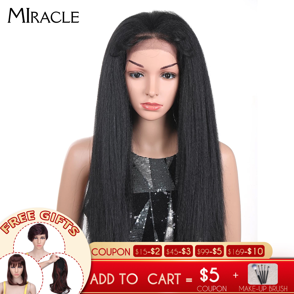 Miracle Natual Black 1B Synthetic Straight Wigs For Women 3 Colors Ombre Long Afro Wig African American 26