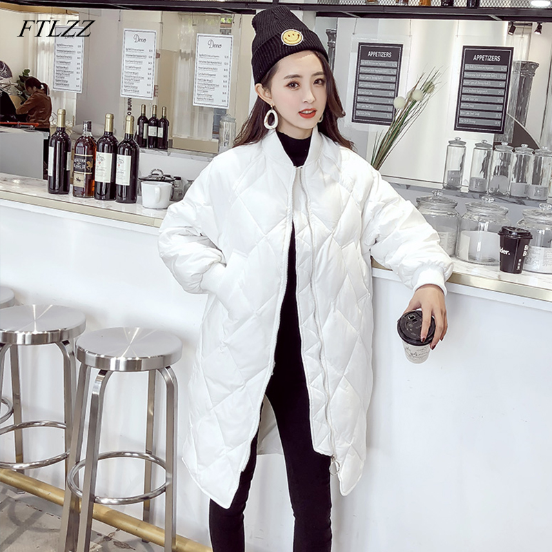 FTLZZ 2019 Ultra Light White Duck   Down     Coat   Winter Long Womens Slim   Down   Jackets Oversize Autumn Puffer Black Parkas