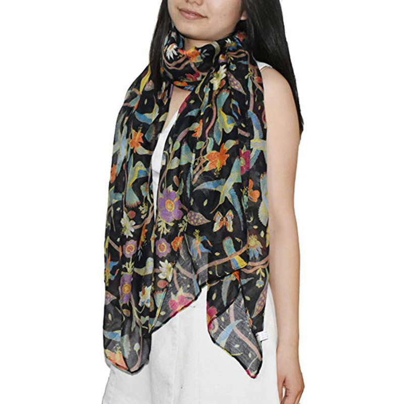 Free Shipping Elegant Birds Print Scarf For Women Lightweight Hummingbird Floral Silk Shawls And Scarves Ladies Summer Wrap