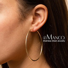 eManco 70mm Circle Big Hoop Earrings for Women 316L Prevent Allergy Stainless Steel Earring Brand Fashion Jewelry Drop Shipping(China)