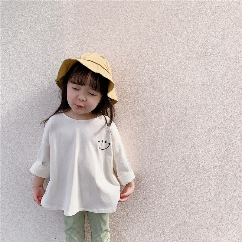 Kids T <font><b>shirts</b></font> Cartoon Loose Tees for Baby Girls 2020 Korean style Pure Cotton Casual Oversized <font><b>2</b></font> colors T <font><b>shirts</b></font> Children Tops image