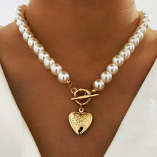 Modyle 2021 New Vintage Wedding Pearl Choker Necklace For Women Geometric Heart Pendant Necklaces Jewelry collier de perles