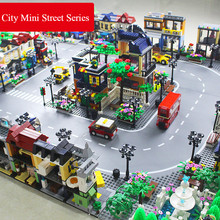 28Style City Mini Street Food Pizza Cafe Store Plant Flower Shop Station Road Base Plate Building Blocks MOC Bricks Friends Toys