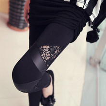2019 Lente Herfst Lederen workout Leggings Hot Charmant Warm Goedkope Lace legins Sexy PU Leggins Skinny Stretch Splicing Broek(China)