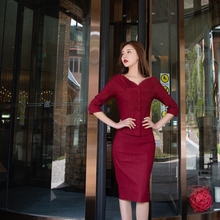 ネックスリムボディコンドレスように見えるトップス女性ドレス V ヴィンテージツーピースセットレトロエレガントな
