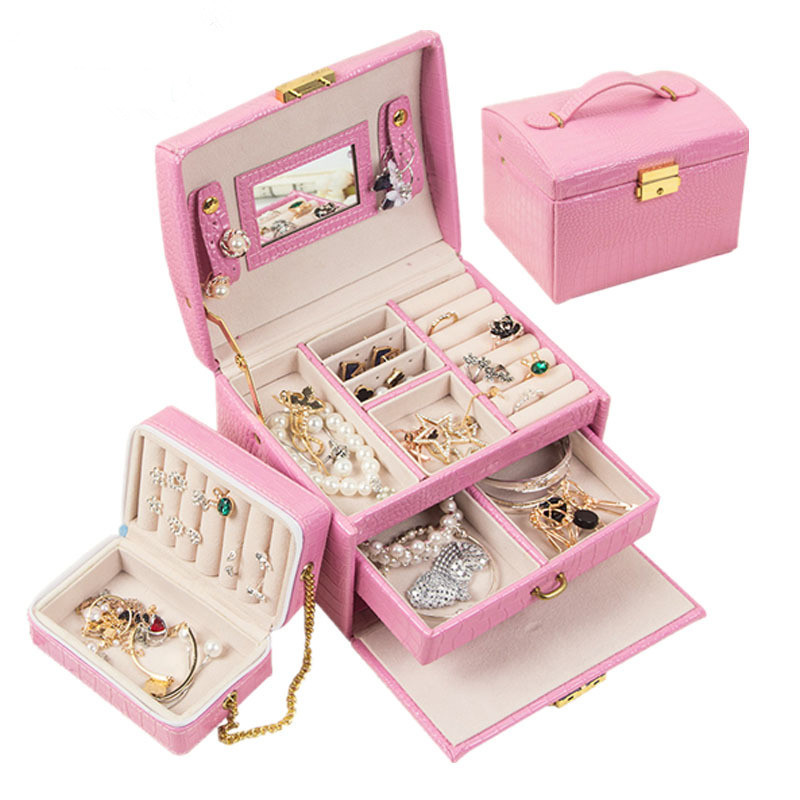 New 2019 Fashion High Quality Leather Jewelry Box 7 Colors With Small Protable Travel Jewelry Casket 3 Layers Gift Box makeup organizer box