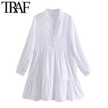 TRAF – Mini robe Vintage à manches longues pour femmes, tenue Chic à la mode avec ourlet à volants et boutons