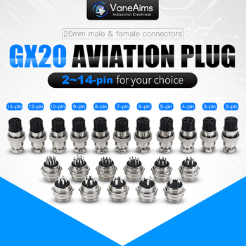 GX20 2/3/4/5/6/7/8/9/10/11/12 Pin Male + Female 20mm Circular Wire Panel Aviation Connector Socket Industrial socket aviation connector diam 20mm gx20 push pull circular quick connector 2pin3 4 5 6 7 8 9pin 10 12 14 15pin male female plug