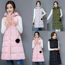 Waistcoat Down-Vests Hooded Female Autumn Long Winter Women Sleeveless Loose Casual New-Fashion