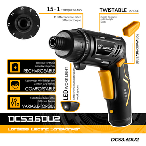 Image 2 - DEKO DCS3.6DU2 Cordless Electric Screwdriver DIY Household Rechargeable battery Screwdriver with Twistable Handle with LED Light