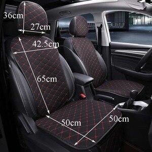 Image 3 - フロント車のシートカバーと背もたれユニバーサル通気性リネンシートクッション保護マットパッド自動シートフィットインテリアアクセサリー